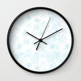 Merry Christmas- Blue Snowflakes white pattern Wall Clock