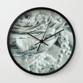 Roses Tea Pearls Still Life Modern Cottage Modern Country A480 Wall Clock