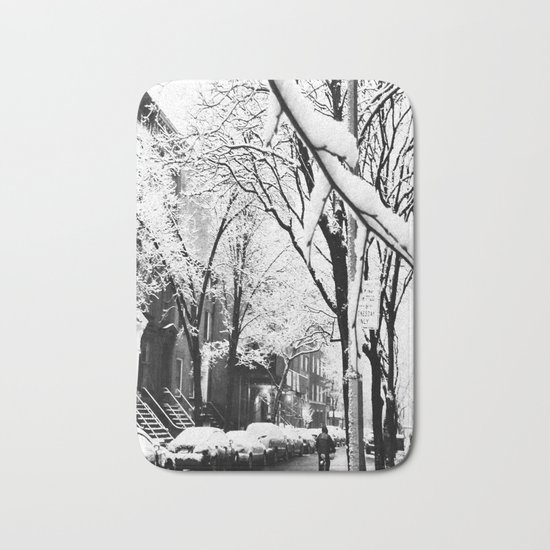 Black and White Photo of the Beautiful Brooklyn Heights covered in icy snow Bath Mat