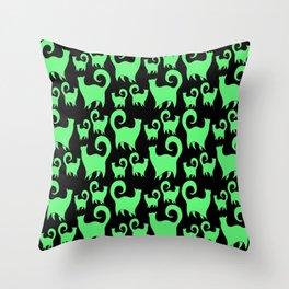 Green Snobby Cats Throw Pillow