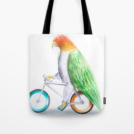 Happy Parrot and his bike Tote Bag