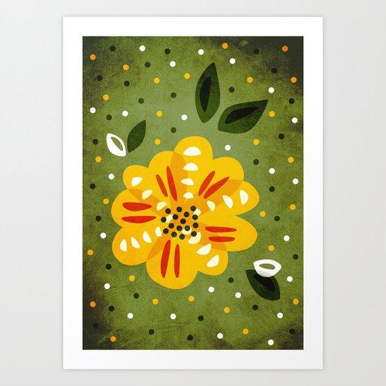 Abstract Yellow Primrose Flower Art Print