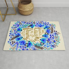 The Earth Laughs in Flowers – Gold & Blue Rug