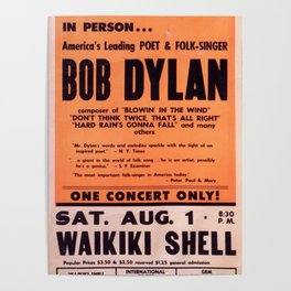 Vintage 1965 Waikiki Shell Hawaii Bob Dylan Concert Poster Poster