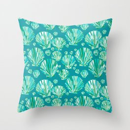 Modern Geometric Seashell Pattern, Aqua and Turquoise Throw Pillow