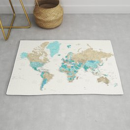 Watercolor world map with cities, aquamarine, cream, brown Rug