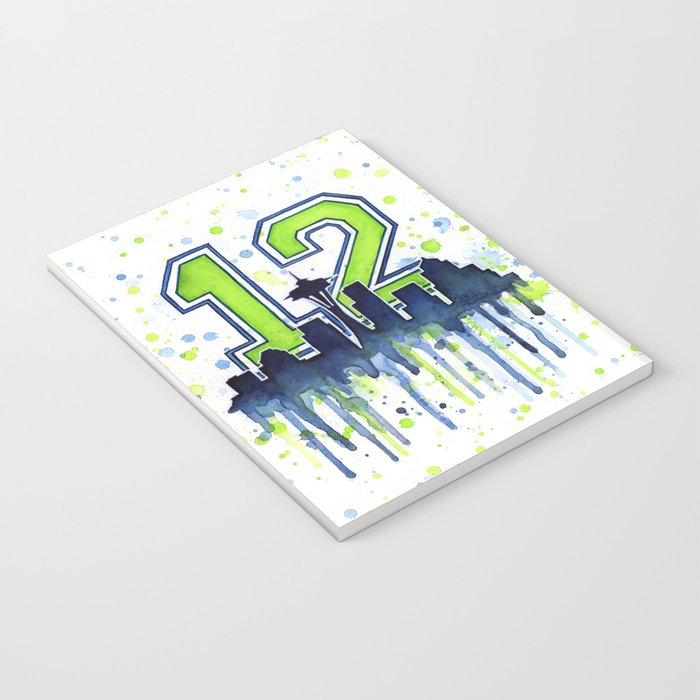 Seattle 12th Man Fan Art Seattle Space Needle Notebook
