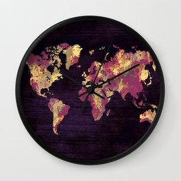 world map 86 red yellow Wall Clock