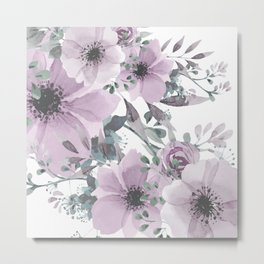 Abstract Watercolor, Purple and Gray, Floral Watercolor Metal Print