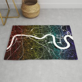 Colourful City Map of London, UK Rug
