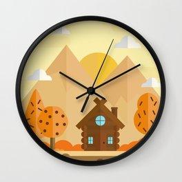 Autumn Cabin Wall Clock