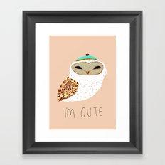 i'm cute owl illustration  Framed Art Print