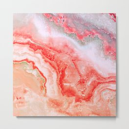 Luxury Rose Gold Agate Marble Geode Gem Metal Print