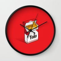 cigarettes Wall Clocks featuring YOLO Cigarettes  by RJ Artworks