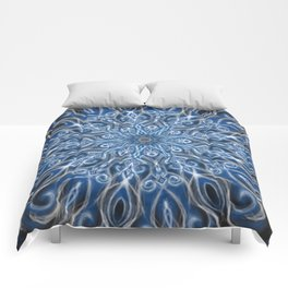 white skull swirl mandala Comforters