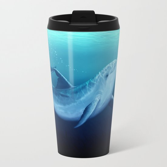 """Riversoul Blue"" by Amber Marine ~ Dolphin Art, (Copyright 2014) Metal Travel Mug"