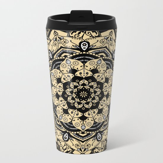 Indian Gold Mandala Metal Travel Mug