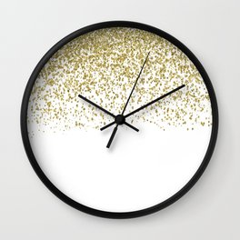 Sparkling gold glitter confetti on simple white background- Pattern Wall Clock