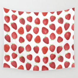 Strawberries watercolor Wall Tapestry