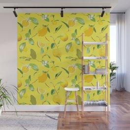 Watercolor Lemon & Leaves 4 Wall Mural
