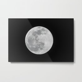 Full Moon Black and White Telescope Space Photography Metal Print