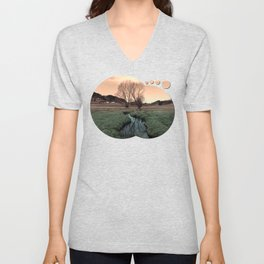 A stream, dry grass, reflections and trees II | waterscape photography Unisex V-Neck