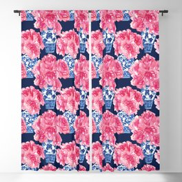 Watercolor Peony Bouquets in Blue Chinese Vases on Navy Blackout Curtain