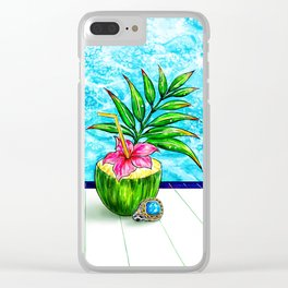 Summer Time_Pool Side Clear iPhone Case