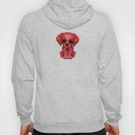 Cute Puppy Dog with flag of Albania Hoody