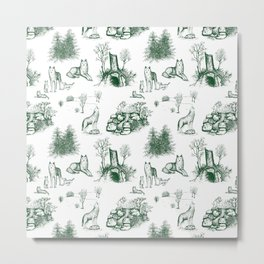 Eurasian Wolf Toile Pattern (Green) Metal Print