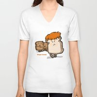 bread V-neck T-shirts featuring Ginger Bread by BinaryGod.com