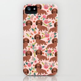 Long Haired Dachshund red coat pet friendly must have gifts for home dog lover iPhone Case