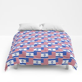Mix of flag : usa and israel Comforters