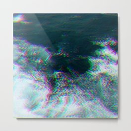 Oceanic Glitches - Deep Green Metal Print