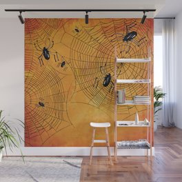 Halloween Spiderwebs Watercolor - Kitschy Vintage Spooky All Hallows Eve Wall Mural