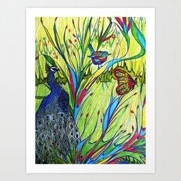 Peacock In Dreamland Art Print