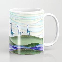 Whimsical blue giraffe march Coffee Mug