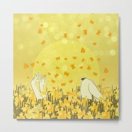 Yellow Effervescence Metal Print