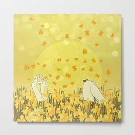 Yellow Effervescence Metal Print