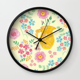 Watercolor floral with vase Wall Clock
