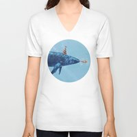 party V-neck T-shirts featuring Party Whale  by Terry Fan