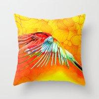 parrot Throw Pillows featuring Parrot by Ganech joe