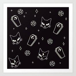 Cute Goth Kitties & Coffins Art Print
