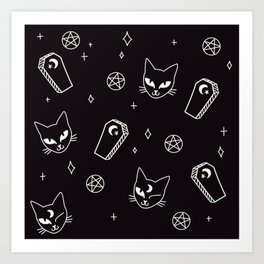 Cute Goth Kitties & Coffins Art Print