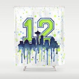 Seattle 12th Man Art Skyline Watercolor Shower Curtain