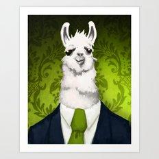 Formal Llama - Green Art Print