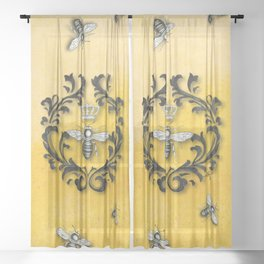 Damask Bee Sheer Curtain