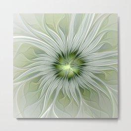 Olive Fantasy Flower Metal Print