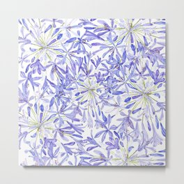 blue purple African lily watercolor painting Metal Print