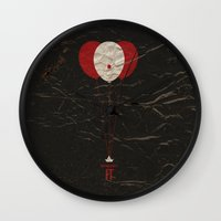 pennywise Wall Clocks featuring Pennywise the Clown - Stephen King's IT Inspired vintage movie poster by Dan Howard